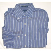 Paul Fredrick Broadcloth Striped Dress Shirt Men's 15.5-33