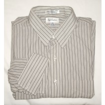 Paul Fredrick Striped Broadcloth Dress Shirt  w/French Cuffs 17-34