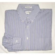 Paul Fredrick Striped Broadcloth Dress Shirt Men's 17-33