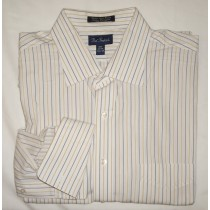 Paul Fredrick Striped Broadcloth Dress Shirt w/French Cuffs 17.5-34