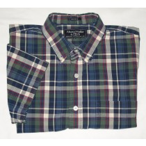 Abercrombie & Fitch Plaid Muscle Short Sleeve Shirt Men's S - Small