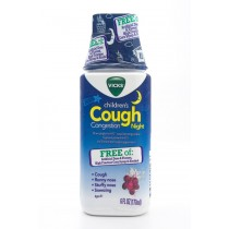 Vicks Children's Cough Congestion Night Free of: Artificial Dyes & Flavors, High Fructose Corn Syrup & Alcohol 6 fl oz