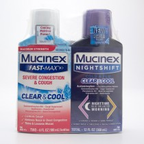 Mucinex Fast-Max Severe Congestion & Cough Clear & Cool and Nightshift Cold & Flu Clear & Cool 2 x 6 fl oz bottles (total 12 fl oz)