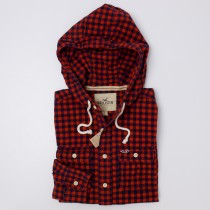 NEW Hollister Men's Hooded Gingham Check Shirt
