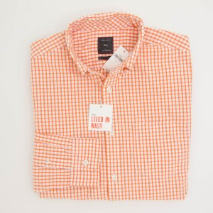 Gap Lived-In Wash Mini Coral Checkered Shirt