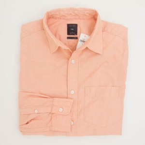 Gap Lived-In Wash Solid End-Over-End Shirt in Creamsicle Men's Small