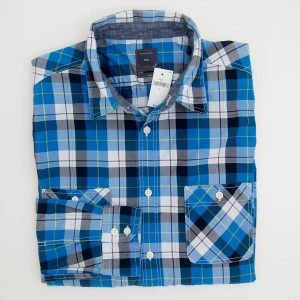 Gap Plaid Double Patch Pockets Shirt in Academy Blue