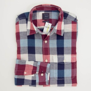 Gap Herringbone Buffalo Plaid Shirt in Sled Red