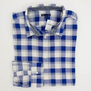 NEW Gap Slim Fit Shadow Plaid Shirt in Becca Blue Men's Medium