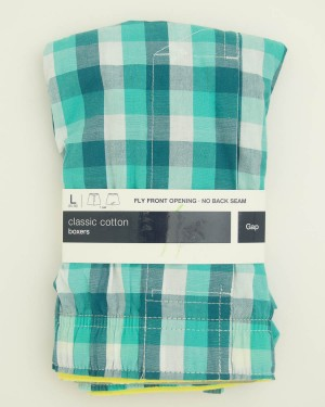 NEW Gap Classic Cotton Pfeiffer Check Boxers in Green
