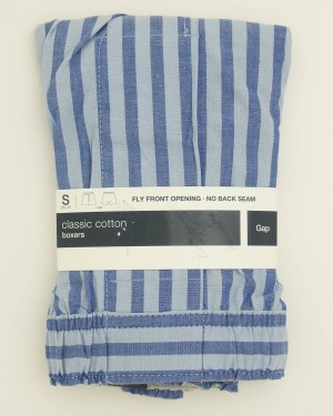 NEW Gap Classic Cotton Ian Stripe Boxers in Blue Men's Small (30-31)