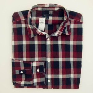 NEW Gap Original Fit Houndstooth Plaid Shirt in Navy/Red Men's Large