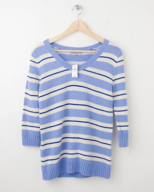 NEW Gap Striped Pullover Sweater in Marina Blue