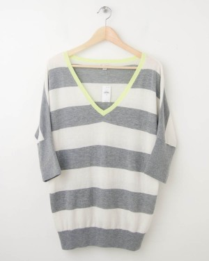 NEW Gap Striped Dolman-Sleeve Sweater in Heather Grey
