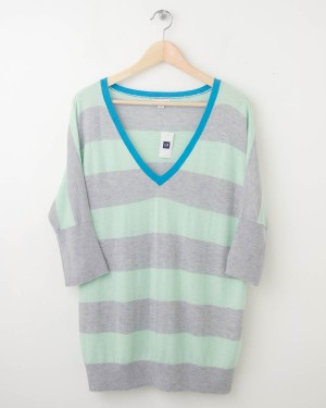 NEW Gap Striped Dolman-Sleeve Sweater in Icy Mint