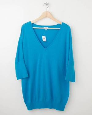 NEW Gap Solid Dolman-Sleeve Sweater in Turquoise Joy