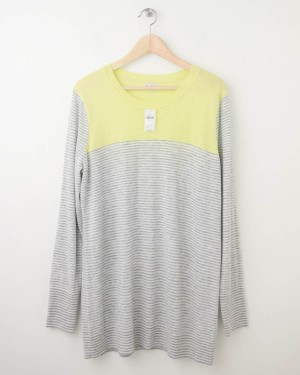 NEW Gap Neon Colorblock Striped Tunic Sweater in Lemon Yellow Women XL