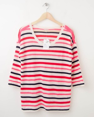 NEW Gap Neon Striped Button-Shoulder Sweater in Ivory Frost