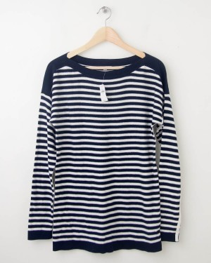 NEW Gap Striped Boat Neck Sweater in True Indigo Women's Medium
