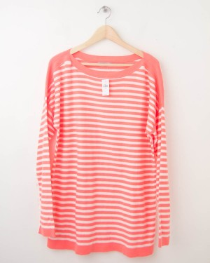 NEW Gap Striped Boat Neck Sweater in Neon Orange Light Women's XL