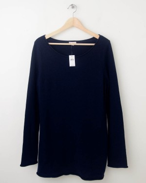 NEW Gap Roll-Edge Solid Sweater in Navy Uniform Women's Large