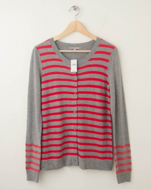 NEW Gap Striped Sequin Crew Cardigan in Light Grey Heather