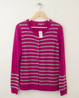 NEW Gap Striped Sequin Crew Cardigan in Electric Fuchsia Women's Small