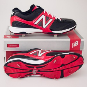 New Balance 4040 Low Cut Baseball Cleats MB4040LR Black with Red