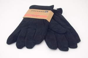 Genuine Leather Sherpa Lined PigSplit Gloves in Black