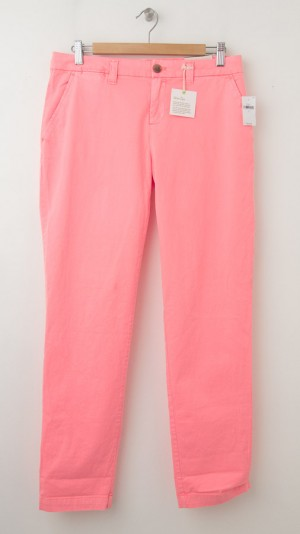 NEW Gap Neon Dye Broken-In Straight Khaki Pants in Neon Peach