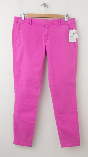 NEW Gap Garment Dyed Skinny Mini Skimmer Khaki Pants in Neon Magenta