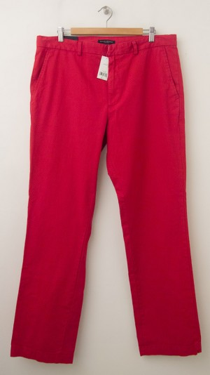 NEW Banana Republic Aiden Slim-Fit Printed Chino Pants in Redwood