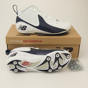 New Balance 993 Mid Cut Football Cleats MF993MB in White with Navy