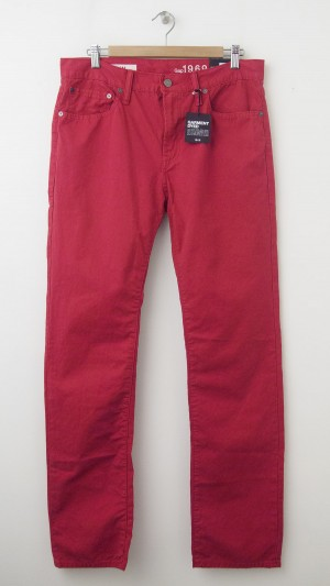 NEW Gap 1969 Garment Dyed Slim Fit Jeans in Red