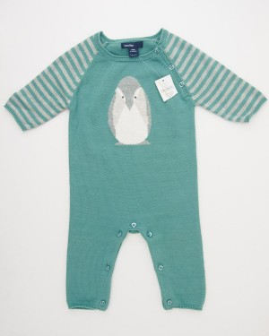 NEW babyGap Intarsia Penguin One-Piece Sweater Onesie in Dark Malachite
