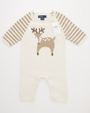 NEW babyGap Favorite Intarsia Deer One-Piece Sweater Onesie in French Vanilla