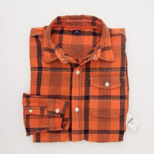 NEW Gap Kids Boy's Long Sleeve Overtint Button Front Shirt in Orange Plaid