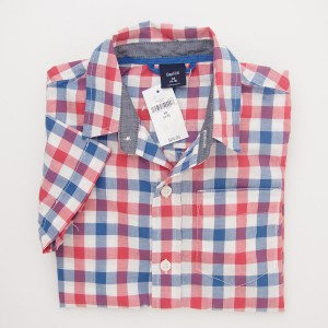 NEW GapKids Boy's Short Sleeve Gala Gingham Shirt in Blue Red Plaid