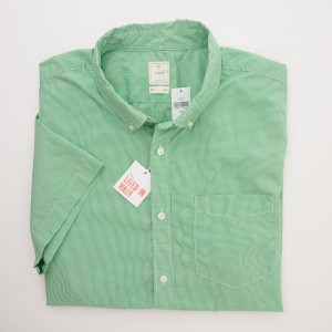 Gap Lived-In Wash Short Sleeve Micro Check Shirt in Flash Green