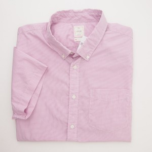 Gap Lived-In Wash Short Sleeve Micro Check Shirt in Lavender