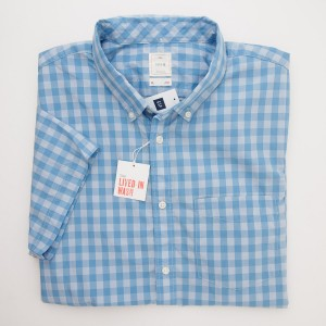 Gap Lived-In Wash Short Sleeve Gingham Shirt in Banker Blue