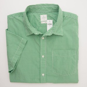 Gap Lived-In Wash Short Sleeve Gingham Shirt in Pixie Green Men's XL - Extra Large