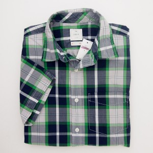 Gap Lived-In Wash Short Sleeve Big Plaid Shirt in Pixie Green