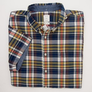Gap Short Sleeve Madras Plaid Shirt in Yellow
