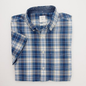 Gap Short Sleeve Madras Plaid Shirt in Light Blue