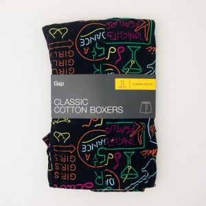 NEW Gap Classic Cotton Neon Signs Boxers in True Black