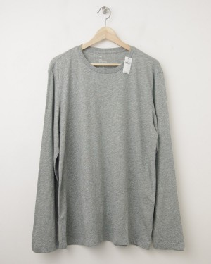 NEW Gap The Essential Crew Long Sleeve Tee T-Shirt in Heather Grey