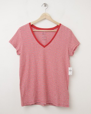NEW Gap Women's The Essential Stripe V-Neck Tee T-Shirt in Red Stripe