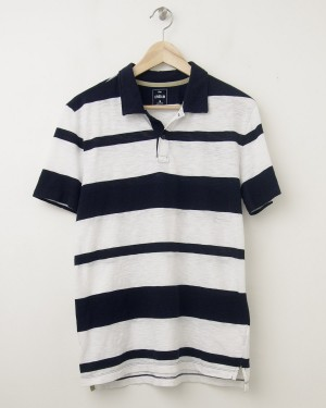 NEW Gap Lived-In Double Striped Polo Shirt in White Stripe