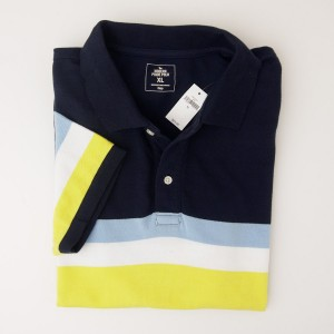 NEW Gap Modern Pique Chest Stripe Polo Shirt in Navy Yellow Stripe